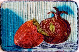 Sara Kelly Art Quilts: Persimmon and Pomegranate Postcard 4