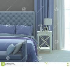 Graues Und Blaues Schlafzimmer Stockbild Bild Von Gefärbt Leinen