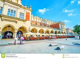 Krakow poland june 11 2018 the center of krakow offers variety of cefes and restaurants with comfortable outdoor terraces with great view
