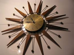 retro sunburst starburst teak wood westclox wall clock