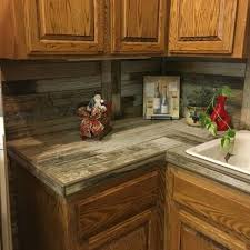 country rustic kitchen rustic wood plank tile countertop and backsplash