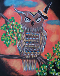 holloween hoot owl at paint and sip class at whimsyartstudio com in san