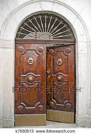 old antique wooden door half opened