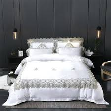 white luxury bedding golden white silk lace luxury bedding set king queen size bed set for