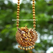 Temple Jewellery Locket Designs Diamond Peacock Ganesh Pendant Ganesh Pendant Gold