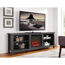 S Walker Edison Furniture Company 70 In Wood Media TV Stand Console With  Fireplace  Charcoal