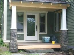 Decorations:Small Porch Idea With Natural Stone Pillar Design Beautiful and  Creative Front Porch Decorating