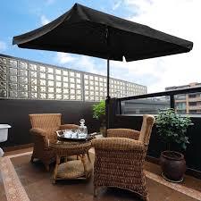 10x6 5ft rectangle aluminum outdoor patio umbrella w valance sunshade crank tilt garden black