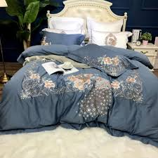 grey pink 100 egyptian cotton embroidery bedding set queen king size duvet cover bed fit sheet set pillowcase soft bedclothes queen comforter daybed