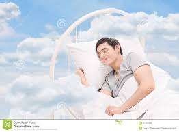 Floating Cloud Bed Man Sleeping On A Bed In The Clouds Stock Photo Image 51101230