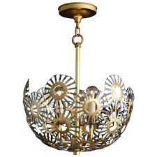 marie suri steel and bronze pendant light for