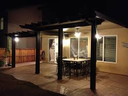 patio cover lighting ideas. Wonderful Alumawood Patio Cover In Brown With White Ceiling Matched Tan Wall Plus Dining Table Lighting Ideas O