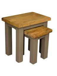a solid mango wood nest of tables french grey painted legs