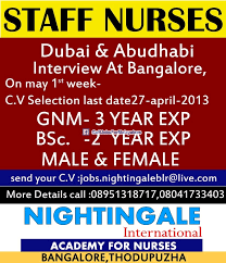 Staff Nurses For Dubai Abu Dhabi Gulf Jobs For Malayalees