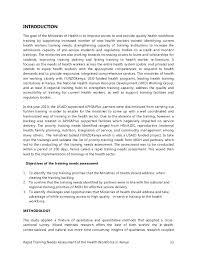 health workforce training needs assessment report rapid training needs assessment of the health workforce in 12 13