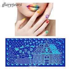 1 piece sting plate nail art template snowflake house image print transfer nail makeup st plate