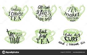 Tea Quotes Hand Drawn Lettering Vector Illustration Stock Vector