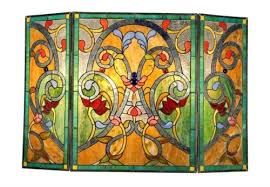 victorian design stained glass 3 section fireplace screen 28 t x 44 w
