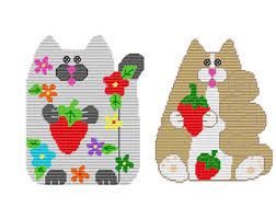 Plastic Canvas <b>Strawberry cats</b> Wall Hanging PDF Instant | Etsy ...