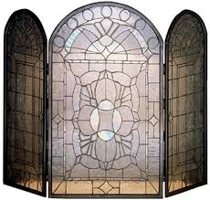 40 inch w x 34 inch h beveled glass clear folding fireplace screenthis handsome fireplace screen has an elegant patternmade entirely of bevel cut