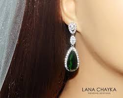 emerald crystal earrings green chandelier earrings emerald bridal cz earrings green teardrop wedding earrings prom jewelry free us ship 37 00 usd