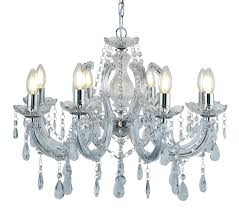 searchlight marie therese 8 light chandelier chrome finish with crystal glass droplets 399 8