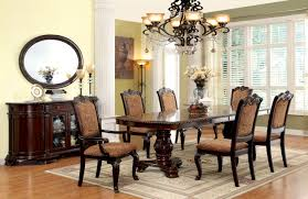Cherry Wood Kitchen Table Sets Furniture Of America Brown Cherry Georgetown 7 Piece Formal Dining