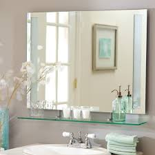 Décor Wonderland Frameless Roxi Wall Mirror with Shelf 31 5W x