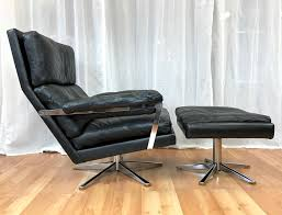 swedish leather lounge chair and ottoman 1