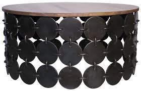 unique teak wood top coffee table with circle black metal arrangements base round