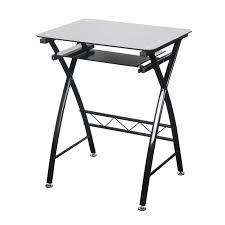 chicago computer desk black glass top pull out shelf trendy looking style loading zoom