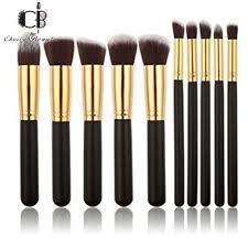 10 pcs professional make up foundation blusher brushes set black gold