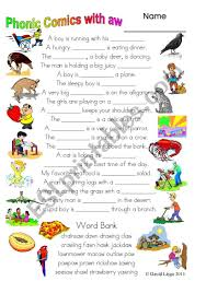 Covering, letters of the alphabet. 3 Pages Of Phonic Comics With Aw Worksheet Comic Dialogue And Key 32 Esl Worksheet By David Lisgo