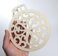 Unfinished Wood Laser Cut Christmas Ornament