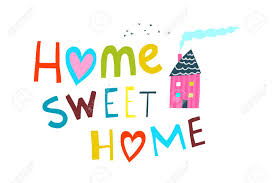 Illustrated Cartoon Kids Sign Home Sweet Home. Home Sweet Home Lettering  With House. Lizenzfreie Fotos, Bilder Und Stock Fotografie. Image 122689081.