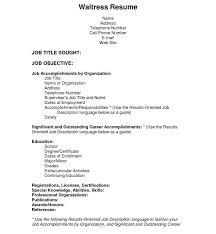Resume Templates For Waitress | Nfcnbarroom.com