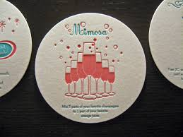 drinks on us letterpress coaster set  dolce press