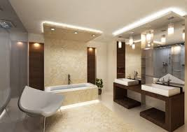 modern double sink bathroom vanities. Pendant Modern Bathroom Lighting With Double Sink Vanities And Frameless Mirror Also Built In Bathtub Plus White Acrylic Chair D