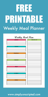 Weekly Menu Free Weekly Meal Planning Printable With Grocery List
