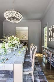 alyssa rosenheck robert abbey bling chandelier over quartzite top dining table