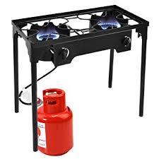 Goplus Outdoor Stove 2-Burner High Pressure Propane Burner 150,000BTU Portable Gas Cooker Height Amazon.com :