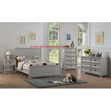 Victoria 3 Piece Full Size Gray Wood Contemporary Kids Bedroom Set (Panel Bed, Dresser, Chest) (KD)