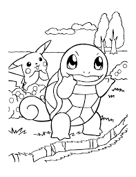Starter Pokemon Bulbasaur Squirtle Charmander Coloring Page
