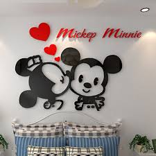 2015 creative 3d cartoon mickey acrylic wall stickers bedroom furniture living room sofa tv backdrop entrance acrylic bedroom furniture