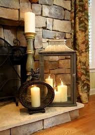 fireplace lantern and candle grouping