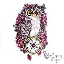 Velké Dočasné Tetování Sova A Kompas