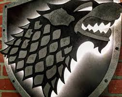 Game Of Thrones Stark House Crest Wooden Plaque Stark dire wolf Etsy 60