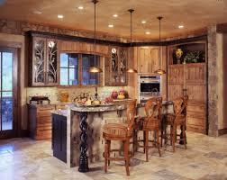 astonishing design of the rustic kitchen lighting with black iron hanging lamp added with brown wooden