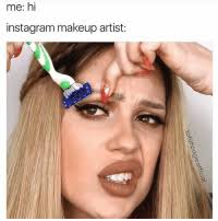 me hi insram makeup artist sticks makeup object in mouth n acts silly