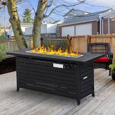 outsunny rectangle fire pit table aluminum gas patio flame 50000 btu glass bead deck w
